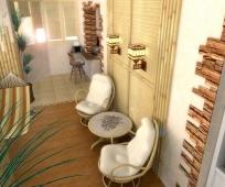 Гамак и кресла в интерьере балкона