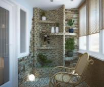 Сад камней в интерьере балкона