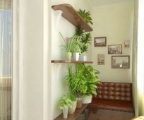 Украшение лоджии полками с живыми растениями