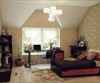 Оформление стен мансардной спальни обоями с растительным рисунком