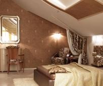 Дизайн спальни в бежево-коричневых тонах на мансарде