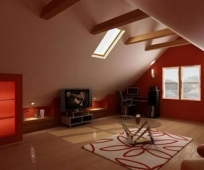 Минималистический дизайн гостиной на мансардном этаже