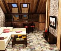 Барная стойка в интерьере комнаты на мансардном этаже