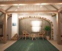 Вагонка для отделки и ротанговая мебель в интерьере мансарды