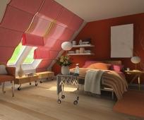 Передвижная мебель в обустройстве интерьера мансардной спальни