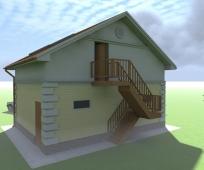 Эскиз загородного дома с уличной двухмаршевой лестницей на мансарду