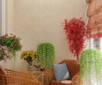 Красивое оформление лоджии цветущими растениями