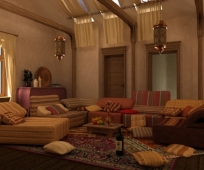 Разнообразие диванчиков для оформления жилой мансарды в восточном стиле