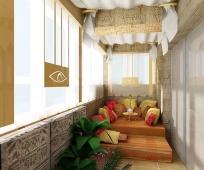 Комната отдыха в восточном стиле на балконе