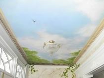 Гипсокартон с фотопечатью на потолке балкона