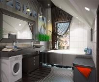 Дизайн ванной со встроенной сантехникой на жилой мансарде