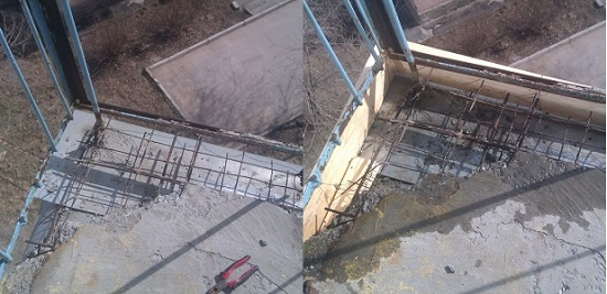 Реставрация разрушенного угла балконной плиты