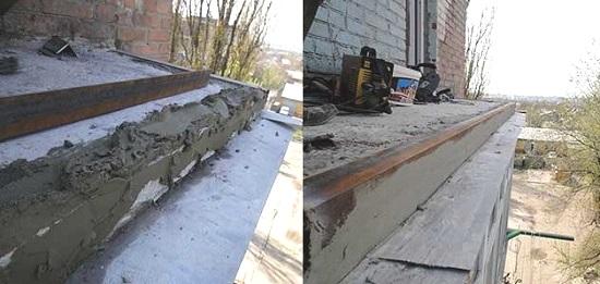 Заделка края балконной плиты