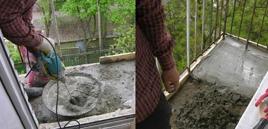 Цементная стяжка плиты балкона