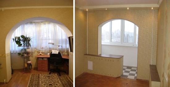 Арочные проемы между комнатой и балконом