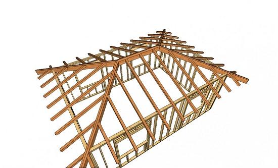 Каркас вальмовой мансардной крыши