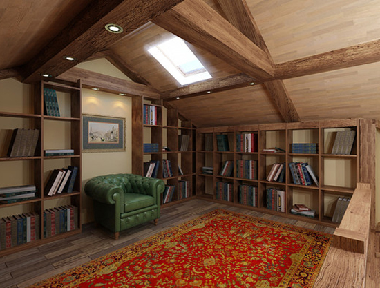 Встроенные книжные шкафы для библиотеки в жилой мансарде
