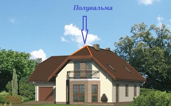 Полувальмовая мансардная крыша частного дома