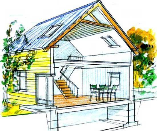 Эскиз частного дома с деревянной стропильной системой мансардной крыши