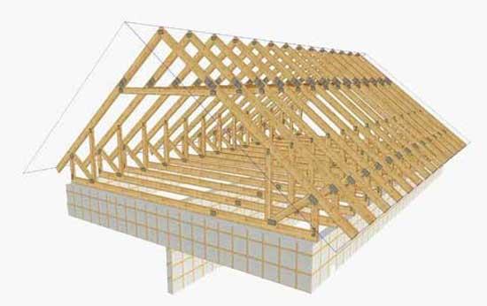 Схема стропильной системы мансардной двускатной крыши