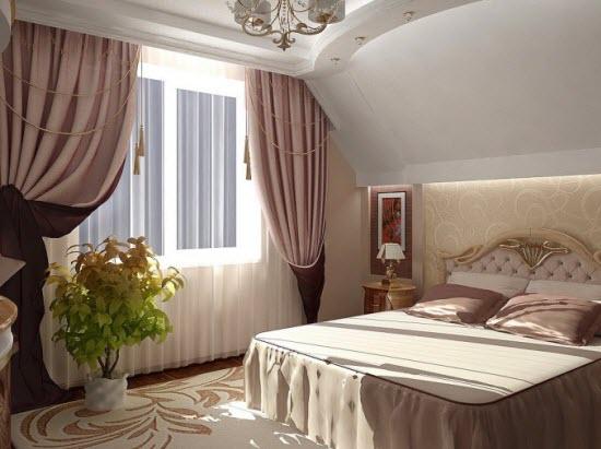 Выбор пастельных тонов для обустройства интерьера мансардной спальни