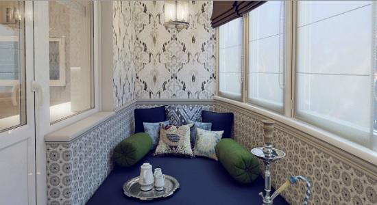 Оформление диванной комнаты в восточном дизайне на лоджии