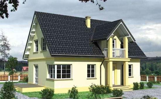 Проект частного дома с двухскатной мансардной крышей