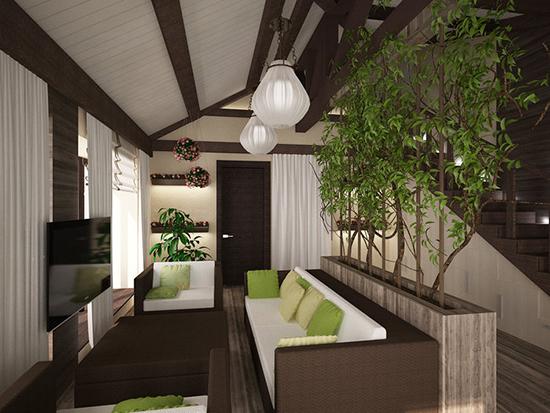 Зонирующая перегородка из деревьев в оформлении жилой мансарды