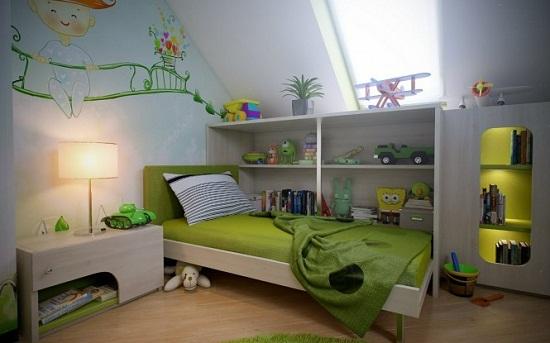 Корпусная мебель в дизайне детской на мансарде