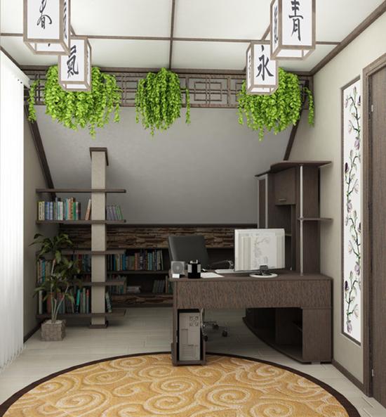 Японская атрибутика и простая мебель в оформлениии кабинета на мансарде