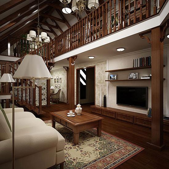 Двухуровневая жилая мансарда с оформлением в классическом стиле