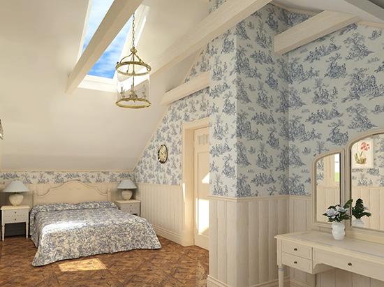 Текстиль и обои с цветочным принтом для оформления спальни прованс на мансарде