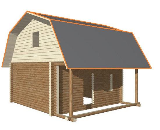 Эскиз дома с мансардной ломаной крышей