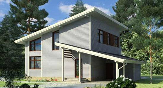 Проект загородного дома с мансардой под односкатной крышей