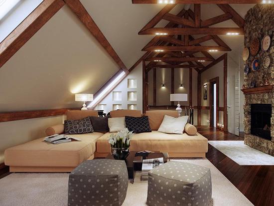 Использование подсветки потолочных балок для оформления гостиной на мансарде