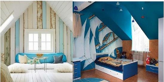 Примеры создания дизайна мансарды прованс и морского стиля