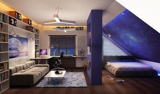 Зонирующая перегородка в интерьере гостиной-кабинета совмещенной со спальней