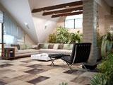 Большой угловой диван в интерьере комнаты отдыха на мансарде