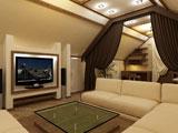 Устройство на жилой мансарде домашнего кинотеатра и кабинета